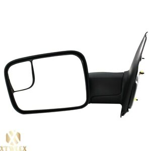 Left Driver Side Manual Towing Mirror For 02 08 Dodge Ram 1500 03 09 2500 3500