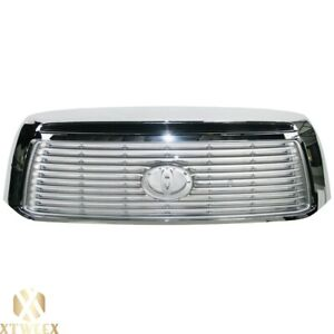 All Chrome Grille For 10 13 Toyota Tundra W O Rock Warrior Package W O Sport