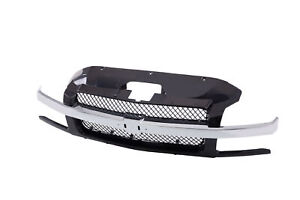 Black Front Grille W Chrome Bar Assembly For 02 06 Chevrolet Avalanche 1500 2500