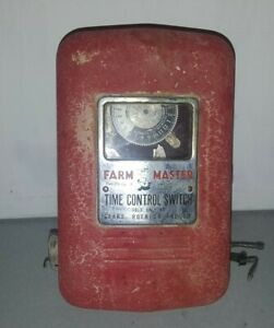 Vintage Farm Master Time Control Switch Red Poultry Timer Sears Roebuck 1623