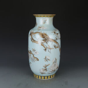 Beautiful Chinese Famille Rose Porcelain Dragon Vase