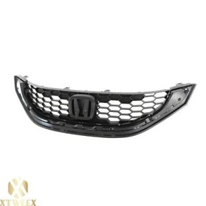 Black Front Grille Grill Replacement For 13 15 Honda Civic 4 Door Sedan New