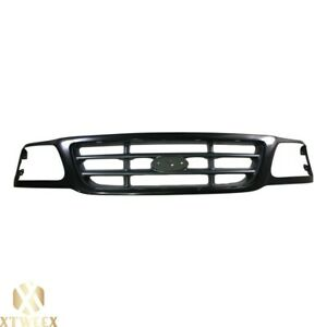 Black Replacement Grille W Trims For 99 04 Ford F150 Pickup Truck New Fo1200376