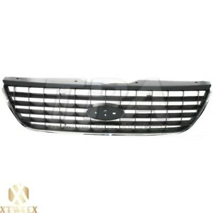 Black Front Grille Grill W Chrome Surround Trim For 02 05 Ford Explorer New