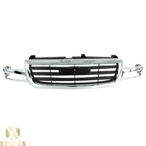 All Chrome Grille W Insert For 03 07 Gmc Sierra 1500 Pickup Sle Slt Sl 2wd 4wd