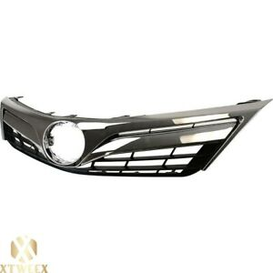 Chrome Front Grille Grill W Black Insert For 12 14 Toyota Camry Le Xle New Parts