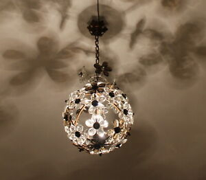 Antique French Crystal Chandelier Pendant Maison Bagues 1920s Smokey Amethyst
