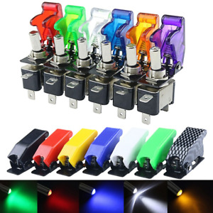 Auto Car Boat Truck Illuminated Led Toggle Switch With Safety Aircraft Flip Up
