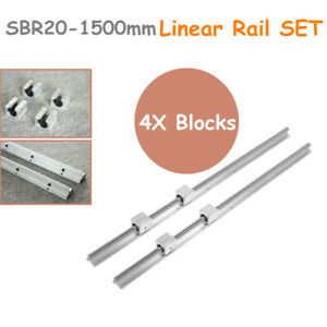 2x Sbr20 1500mm Linear Rail Slide Guideway Shaft 4x Sbr20uu Block Bearings Set