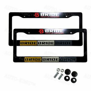 2pcs Jdm Bride New Abs License Plate Frame With Caps For Honda Civic Crv Acura