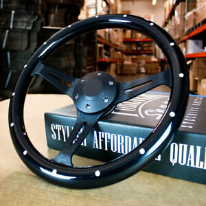 14 Black Steering Wheel With 3 Black Aluminum Spokes 6 Hole Chevy Gmc