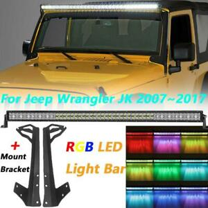 Windshield Mounting Brackets 52 Inch Straight Rgb Light Bar For Jeep Wrangler Jk