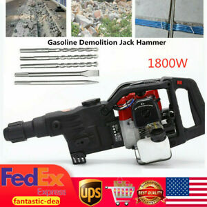32 7cc 2 stroke Gas Demolition Jack Hammer Concrete Breaker Punch Drill Chisels