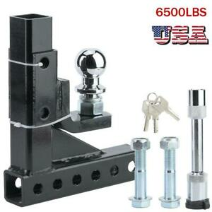 6500lbs Adjustable 2in Towbar Ball Mount Hitch Trailer Tongue Tow Bar Set Us