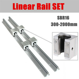 Sbr16 Linear Rail Set 300 2000mm Shaft 2x Rod With 4x Sbr16uu Bearing Blocks Cnc