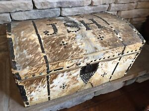 Early 1800s Spanish Colonial Hide Covered Trunk Rustic Ranch Southwestern