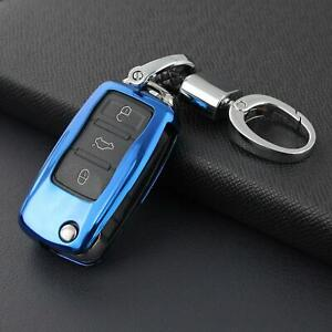 Flip Car Key Fob Chain For Vw Volkswagen Accessories Keychain Cover Case Blue