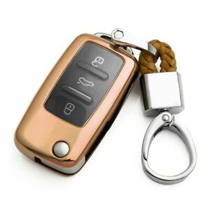 Flip Car Key Fob Chain For Vw Volkswagen Accessories Keychain Cover Case Golden