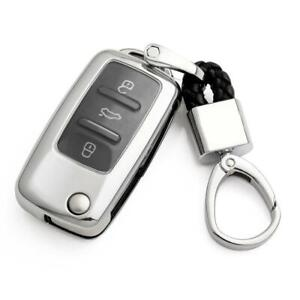 Flip Car Key Fob Chain For Vw Volkswagen Accessories Keychain Cover Case Silver