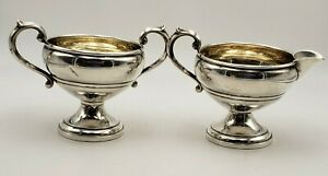Small Vintage Sterling Silver Sugar And Creamer W Gold Wash Interior 7389
