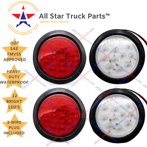 4 Inch 12 Led Round Stop turn tail Reverse backup Truck Trailer Light Kit