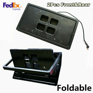 2x Hidden Electric License Car Plate Frame Flip Turn Over Usa Type W Remote Us