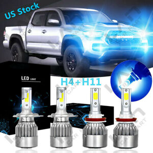 Ice Blue Led Headlight Fog Light C6 For Toyota Tundra 2014 2018 Tacoma 2012 2015