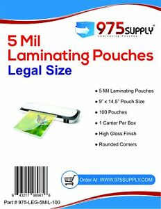 975 Supply 5 Mil Clear Legal Size Thermal Laminating Pouches 9 X 14 5 Inches