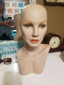 Hard Female Mannequin Head Shoulder Display For Wigs Hats Scarves Jewelry