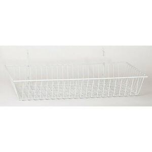Basket Fits Slat grid pegboard In White 24 W X 12 D X 4 H Inches