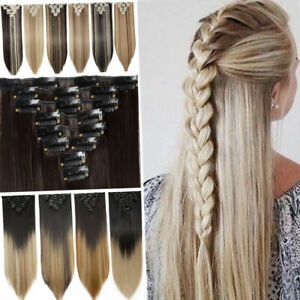 US SALE Clip in 100% Real Natural as Human Hair Extensions Long Curly Wavy Ombre $3.08