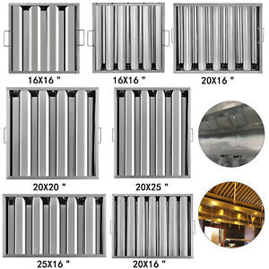 6 Pack Stainless Steel Hood Grease Commercial Exhaust Filter Baffle