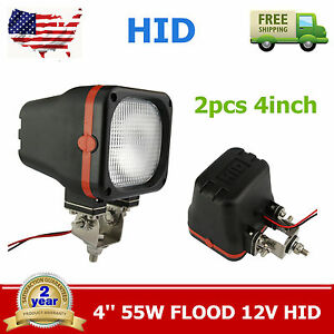 2pcs 4inch 35w Offroad 12v 6000k Flood Xenon Hid For Lights Jeep Truck Square