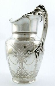 Large Gorham Coin Silver Engraved Pitcher 40 Oz