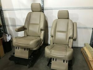 2012 Chevy Suburban 2nd Row Capt Seats In Tan Leather Heated
