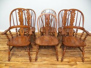 Set Of 6 Oak Windsor Dining Chairs Pennsylvania House Brace Back 2 Arms 4 Sides