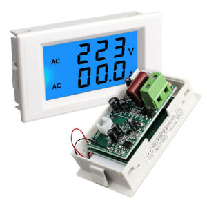 Dual Lcd Digital Display Ac 80 300v 100a Amp Volt Panel Meter Voltage White