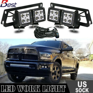 For Dodge Ram 1500 2500 3500 4x 3 Led Fog Light Pod Bumper Mount Brackets Wire