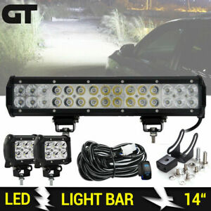 14 15inch Led Light Bar 4 18w Pods Combo Driving Work Lamp For Jeep Offroad