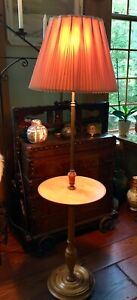 Mid Century Modern Solid Wood Floor Lamp W Integrated Table