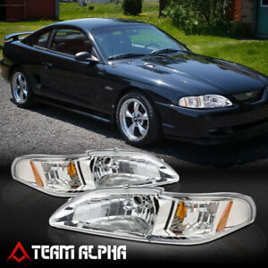 Fits 1994 1998 Ford Mustang Sn 95 Chrome Clear Amber Corner 1 Piece Headlight