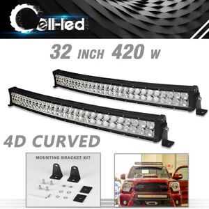 2x 32inch 840w Curved Led Light Bar Combo Beam For Truck 4x4wd Jeep Offroad Suv