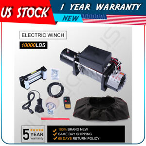 10000lb Electric Recovery Winch 80 Steel Rope 12v 4wd Offroad Truck Suv W Cover