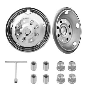 For Ford F450 F550 19 5 99 02 8 Lug Stainless Dually Wheel Simulators Bolt On