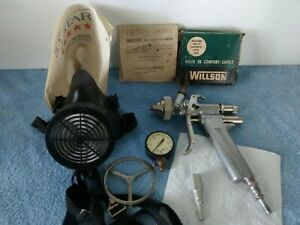 Vintage Pilot Gravity Feed Paint Spray Gun Gauge Filters Respirator Clean