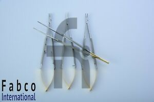 1x Castroviejo Micro Scissors Needle Holder Straight Curved 7 Dental Eye Kit
