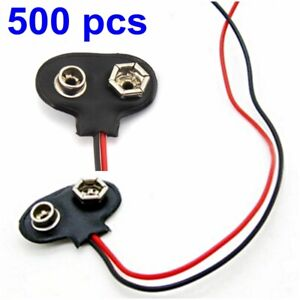 500 Pcs Dc 9v 9 Volt Battery Clip Connector Snap On Straps T Type Soft Shell