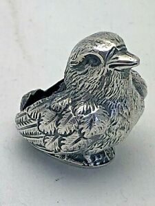 Antique Sterling Solid Silver Chick Bird Pin Cushion 1905 1151 9 Vos