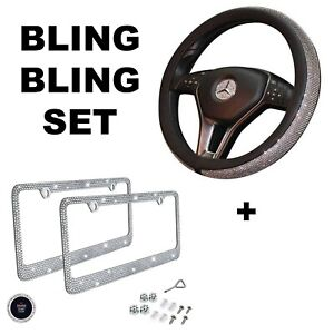 Car Bling Set Steering Wheel Cover License Plate Frame Ring Sticker