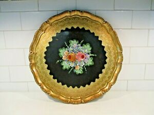 Vintage Tole Painted Floral Gold Round Wood Florentine Tray Italy 15